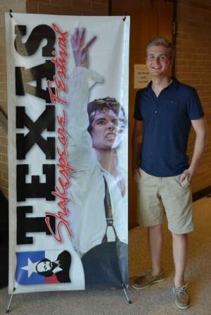 FTT major Jacob Schrimpf at his internship with Texas Shakespeare Festival