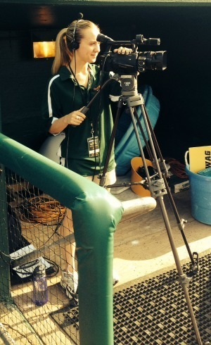 FTT major Jen Flueckiger at her internship with the South Bend Silver Hawks