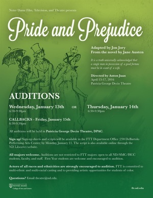 Pride and Prejudice audition flyer