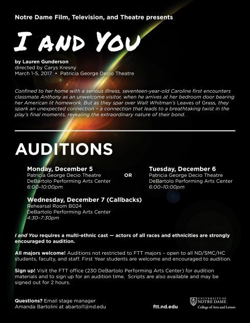 I AND YOU audition flyer